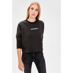 Trendyol Black Printed Knitted Sweatshirt