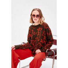 Trendyol Brown Patterned Knitwear Sweater