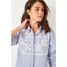 Trendyol Blue Embroidery Detailed Shirt