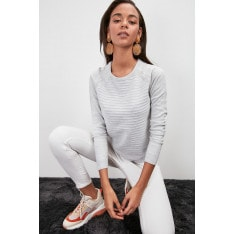 Trendyol Grey Knitted Detailed Knitwear Sweater