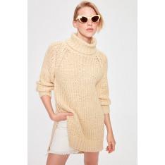 Trendyol Beige Throat Mini Knitwear Dress