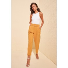 Trendyol Mustard Belt Detailed Pants