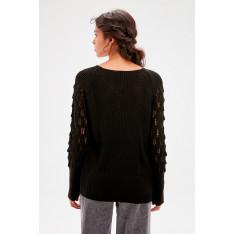 Trendyol Black Sleeve Detailed Knitwear Sweater