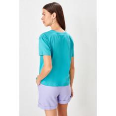 Trendyol Blue Printed Basic Knitted T-shirt