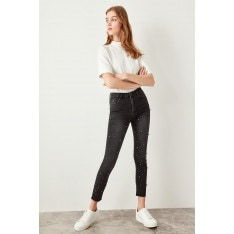 Trendyol Black Pearl Detailed High Waist Skinny Jeans