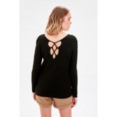 Trendyol Black Back Binding Detailed Knitwear Sweater