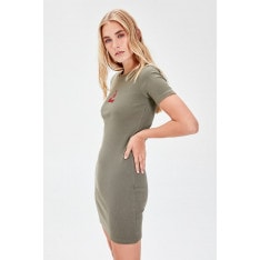Trendyol Khaki Embroidered Knitted Dress