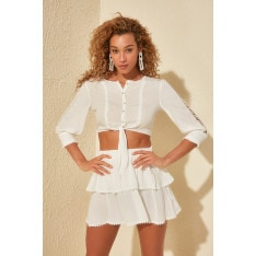 Trendyol White Ribbon Accessory Detailed Mooring Beach Bottom-Top Suit