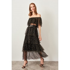 Trendyol Black Flock Polka Dots Printed Skirt