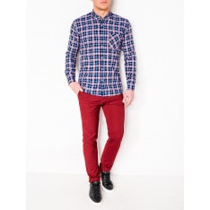 Ombre Clothing Men's check shirt with long sleeves K396