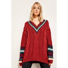 Trendyol Burgundy V-neck Arm Detailed Sweater Sweaters