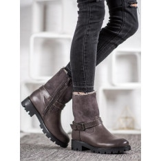NIO NIO GREY BOOTIES WITH FUR