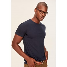 Trendyol Navy Blue Basic Male Cotton T-shirt-Bicycle Collar Slim Fit Short Sleeve
