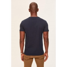 Trendyol Navy blue Print men's cotton T-Shirt-bicycle collar narrow cut short sleeve