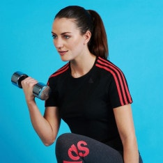 adidas D2M 3 Stripe T Shirt Ladies