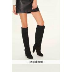 Trendyol Genuine Leather Black Suede Women Boots