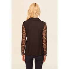 Trendyol Black Lace Sleeves Knitted Blouse