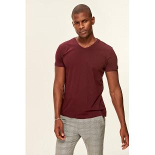 Trendyol Burgundy Basic Men's T-shirt-Cotton V-neck
