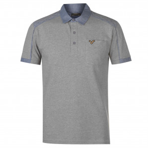 VOI Chambray Panel Polo Shirt Mens