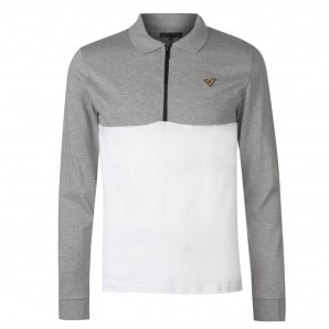 VOI Contrast Long Sleeve Polo Shirt Mens