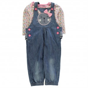 Crafted Mini 2 Piece Dungaree Set Baby Girls