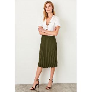 Trendyol Khaki Pilise Knitted Skirt