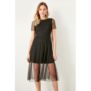 Trendyol Knit Dress With Black Tulle Midi