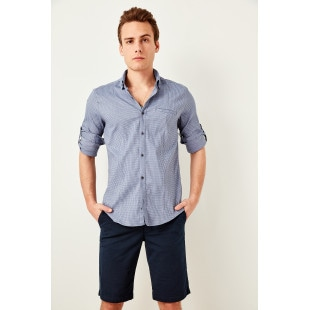 Trendyol Indigo Men's Slim Fit Fillets Pockets Epaulets Shirts