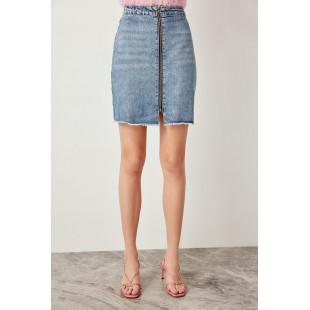 Trendyol Tasseled Zipper Detail Denim Blue Hemline Skirt