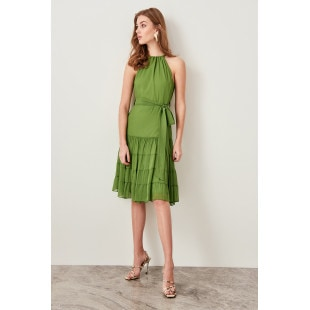 Trendyol Green Binding Detailed Dress