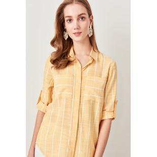 Trendyol Yellow Pocket Detailed Shirt