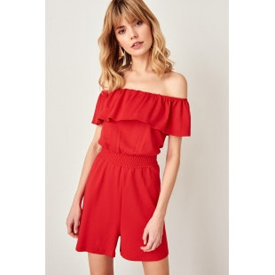 Trendyol Red Frilly Knitted Jumpsuit