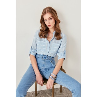 Trendyol Blue Pocket Detailed Shirt
