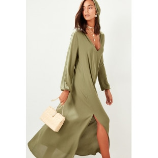 Trendyol Khaki Hooded Viscose Dress