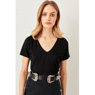 Trendyol Black V neck Cotton Basic t-shirt
