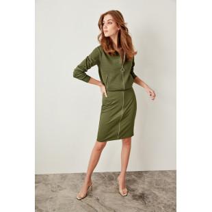 Trendyol Khaki Zipper Detailed Knit Skirt