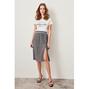 Trendyol The Silvery Gray Pilise Knitted Skirt