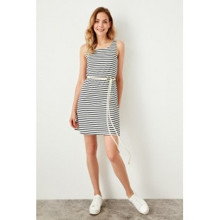Trendyol Dark Blue Striped Knit Dress