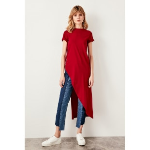 Trendyol Burgundy Asymmetrical Knitted Blouse