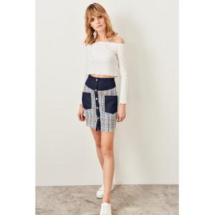 Trendyol Blue Pocket Detailed Tweed Skirt