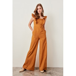 Trendyol Camel Ruffle Detailed Jumpsuit