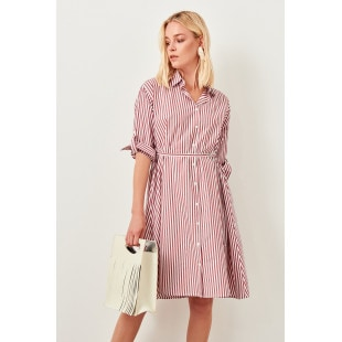 Trendyol Burgundy Striped Dress