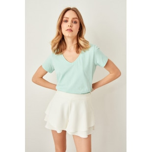 Trendyol Green v-neck Cotton Basic t-shirt