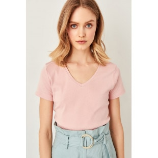 Trendyol Powdered Rib v-neck Cotton Basic t-shirt