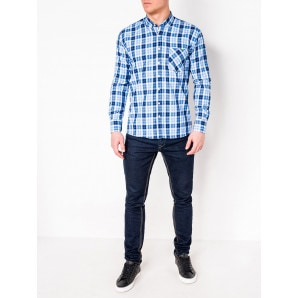 Ombre Clothing Men's check shirt with long sleeves K393