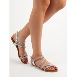 L. LUX. SHOES FLAT SANDALS WITH CUBIC ZIRCONIA