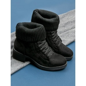 SEASTAR LACE-UP BLACK BOOTS