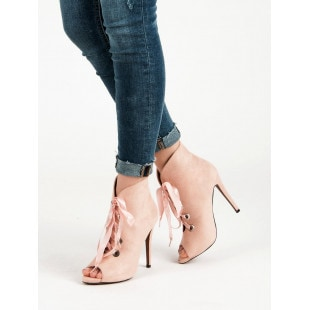 BESTELLE LACE-UP ANKLE BOOTS OPEN TOE