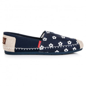 L. DAY NAVY BLUE CANVAS ESPADRILLES IN FLOWERS