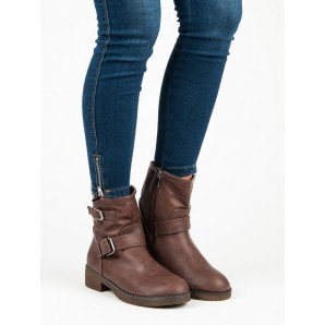 ENCOR BROWN ANKLE BOOTS BIKERY